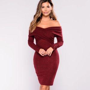 🆕 NWOT Burgundy Sweater Dress Off Shoulder